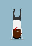 Cartoon businessman doing yoga handstand pose. African american businessman in suit doing yoga handstand pose, trying to relax after busy day. Cartoon flat Royalty Free Stock Photo