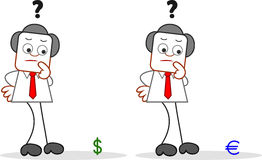 Cartoon Businessman With Dollar and Euro Stock Photo