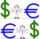 Cartoon Businessman With Dollar and Euro Royalty Free Stock Photography