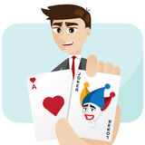 Cartoon businessman draw joker card Royalty Free Stock Image