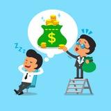 Cartoon businessman dream about money Stock Photography