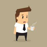 Cartoon businessman drink coffee because of drowsiness Stock Image