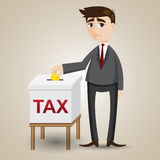 Cartoon businessman drop gold coin in tax box Royalty Free Stock Images