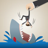 Cartoon businessman dropped into hungry shark. Illustration of cartoon businessman dropped into hungry shark in lay off concept Stock Image