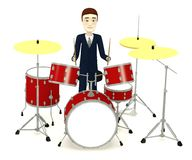 Cartoon businessman with drumset Royalty Free Stock Photos