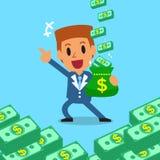 Cartoon businessman earning money Royalty Free Stock Photography