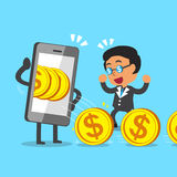 Cartoon businessman earning money with smartphone Royalty Free Stock Images