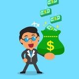 Cartoon businessman earning money stack Stock Image