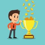 Cartoon businessman earning money with trophy Stock Photos