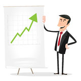 Cartoon Businessman Earnings. Illustration of a cartoon businessman showing bar graph, symbolizing big earnings Stock Images