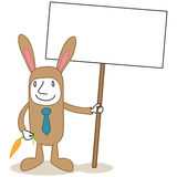 Cartoon businessman easter bunny costume blank sign Royalty Free Stock Photography
