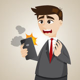Cartoon businessman with error smartphone Royalty Free Stock Photo