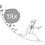 Cartoon businessman escaping from landslide with huge rock labelled Tax. Illustration of cartoon businessman escaping from landslide with huge rock labelled Tax Stock Photography