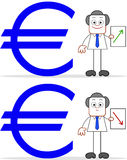 Cartoon Businessman With Euro Value Up and Down Royalty Free Stock Images