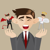 Cartoon businessman with evil and angel Stock Images