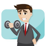 Cartoon businessman exercise with dumbbell Royalty Free Stock Photography