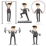 Cartoon businessman exercise set Stock Photos