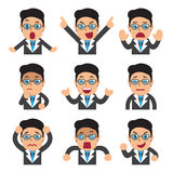 Cartoon businessman faces showing different emotions. For design Royalty Free Stock Photography