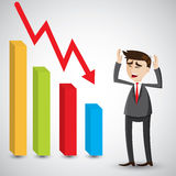 Cartoon businessman fail with graph fall. Illustration of cartoon businessman fail with graph fall.business fail concept Royalty Free Stock Images