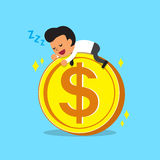 Cartoon businessman falling asleep on a big coin Royalty Free Stock Photos