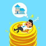 Cartoon businessman falling asleep on money coins and dream about house Royalty Free Stock Images