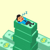 Cartoon businessman falling asleep on money stacks Stock Photo