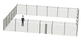 Cartoon businessman in fence Royalty Free Stock Photo