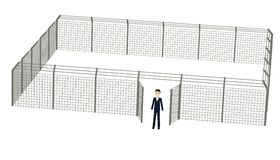 Cartoon businessman with fence Royalty Free Stock Images