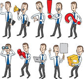 Cartoon businessman figures. Vector illustration of Cartoon business figures in action. Easy-edit layered vector EPS10 file scalable to any size without quality Royalty Free Stock Photos