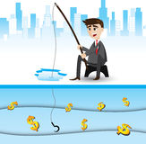 Cartoon businessman fishing money Royalty Free Stock Photo
