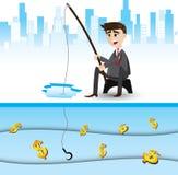 Cartoon businessman fishing money. Illustration of cartoon businessman fishing money. opportunity concept stock illustration