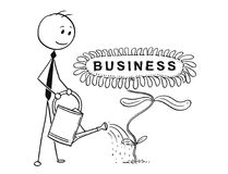 Cartoon of Businessman Gardener Watering Blooming Plant with Flower as Business Sign Stock Image
