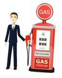 Cartoon businessman with gas station Royalty Free Stock Photography