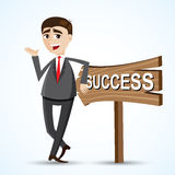 Cartoon businessman gesture with woodboard. Illustration of cartoon businessman gesture with woodboard. success concept Stock Images