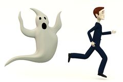 Cartoon businessman with ghost Stock Photo