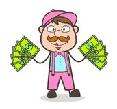 Cartoon Businessman Giving Extra-Income Tips Vector. Design Stock Photo