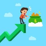 Cartoon businessman grabbing money bag on green arrow Royalty Free Stock Images