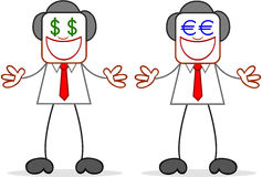 Cartoon Businessman Greedy With Money Eyes Stock Images