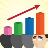 Cartoon businessman with growing chart Royalty Free Stock Image