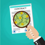 Cartoon businessman hand checking contract Royalty Free Stock Images