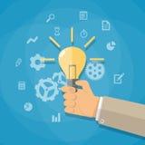 Cartoon businessman hand holding light bulb Stock Image