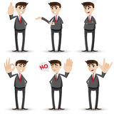 Cartoon businessman with hand sign Royalty Free Stock Images