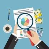 Cartoon businessman hands with magnifier analysis paper sheet Stock Photo