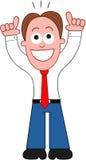 Cartoon Businessman Happy and Thanking God. Cartoon businessman standing, happy and thanking God Stock Photography
