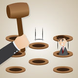 Cartoon businessman in hit the mole style Stock Photography