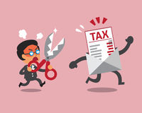 Cartoon businessman holding scissors to cut tax letter. For design Royalty Free Stock Image