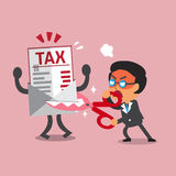 Cartoon businessman holding scissors to cut tax letter. For design Stock Image