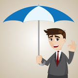 Cartoon businessman holding umbrella Stock Photos