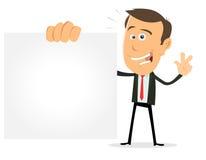 Cartoon Businessman Holding VCard stock image