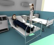 Cartoon businessman in hospital Royalty Free Stock Photo